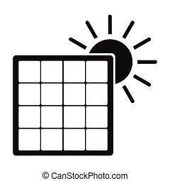 einfache , sonne, ikone, solarmodul