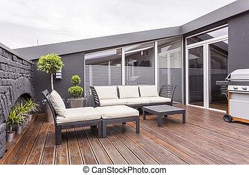 einfache , terrasse, mit, grill