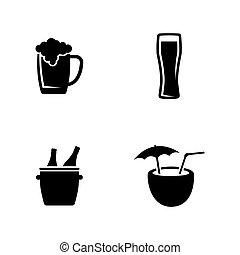 einfache , vektor, alcoholic., verwandt, heiligenbilder
