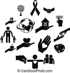 einfache , wohltätigkeit, schwarz, heiligenbilder
