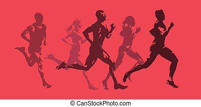 einfarbig, frauen, leute., maenner, freigestellt, rennender , vektor, aktive, silhouetten