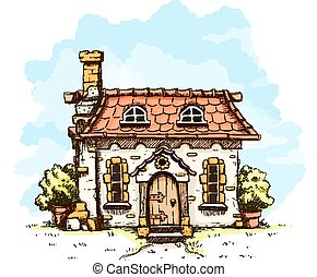 eingang, in, altes , märchen, haus, mit, fliesenmuster, dach