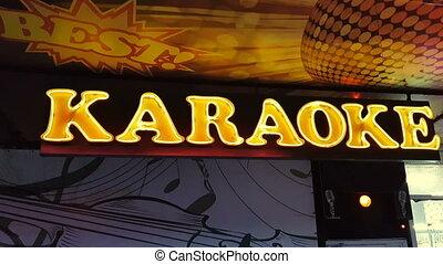 eingang, klub, neon zeichen, nacht, karaoke