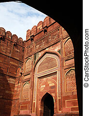 eingang, tor, in, agra, fort