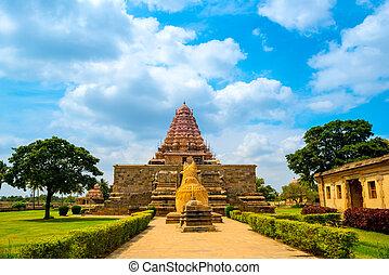 eingang, uralt, hindu, gewidmet, shiva, gangaikonda, tempel