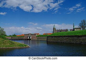 eingang, wassergraben, shakespeare's, hamlet., tor, daheim, hofburg, dänemark, kronborg, festung