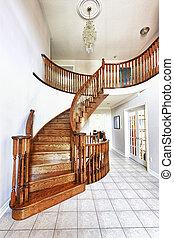 eingangshalle, mit, treppenaufgang