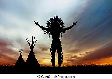 eingeborener indianer, amerikanische