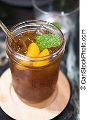 eingefrorener tee, mit, orange, scheiben, und, minze