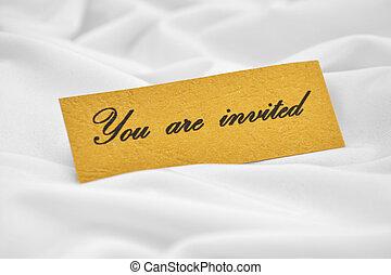 eingeladen, sie