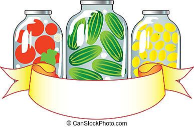 eingemacht, früchte gemüse, in, gla