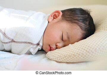 eingeschlafen, japanisches , junge, (1, jahr, old)