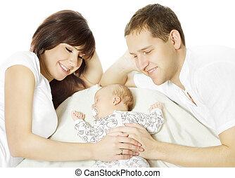 eingeschlafen, neugeborenes, glücklich, baby, familie, umarmen
