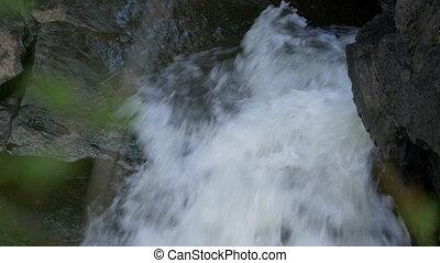 eingestuft, wasserfall, kerry, -, version, schwarz, irland, land, tal