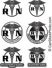 eingetragen, grafik, entwürfe, krankenschwester
