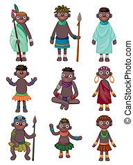 einheimisch, afrikas, karikatur, heiligenbilder