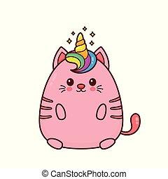 einhorn, katz, lächeln glücklich, reizend
