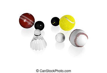 einige, klein, sport, kugeln, mögen, tennis, golfen, kürbis,...