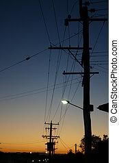 einige, powerlines, silouetted, verteilung, sunset.