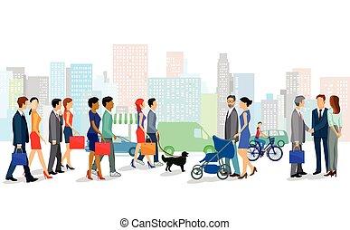 Einkaufen in der Stadt.eps - Shopping in the city