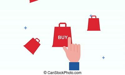 einkaufstüte, hand, ecommerce, indizierung