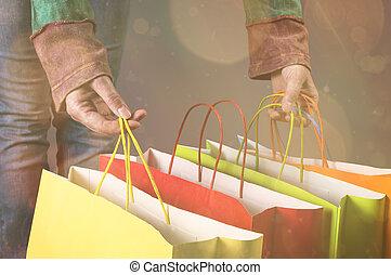 einkaufstüten, in, hände