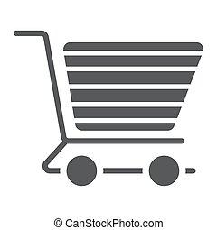 einkaufswagen, glyph, ikone, e handel, und, kaufmannsladen, lebensmittel, einzelhandel, zeichen, vektor, grafik, a, fest, muster, auf, a, weißer hintergrund, eps, 10.