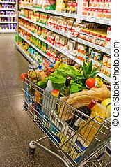einkaufswagen, in, a, supermarkt
