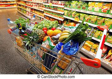einkaufswagen, mit, fruechte, gemüse, lebensmittel, in, supermarkt