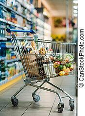einkaufswagen, mit, käufe, in, supermarkt