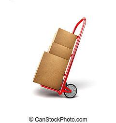einkaufswagen, mit, pakete