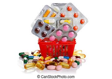 einkaufswagen, mit, pillen, und, medizinprodukt, freigestellt, weiß