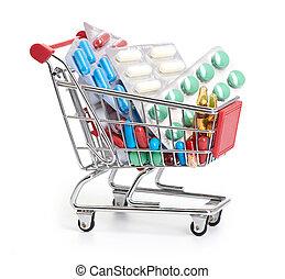 einkaufswagen, mit, pillen, und, medizinprodukt