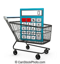einkaufswagen, taschenrechner