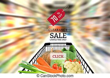 einkaufswagen, voll, mit, fruechte, gemüse, lebensmittel, in, supermarket., begriff, verkauf, beseitigung, in, supermarkt