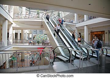 einkaufszentrum, rolltreppe