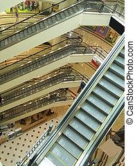 einkaufszentrum, shoppen, rolltreppen