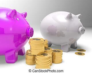 einkommen, ausstellung, geldmünzen, amerikanische , piggybanks