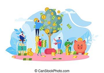 einkommen, busines, leute, geld, geschaeftswelt, successfull, finanziell, auf, start, firma, einträglich, vektor, baum, illustration., growth., neu