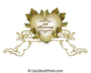 einladung, goldene hochzeit, engel