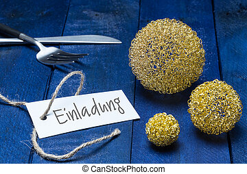 Einladung (in german Invitation) card with cutlery and deco...
