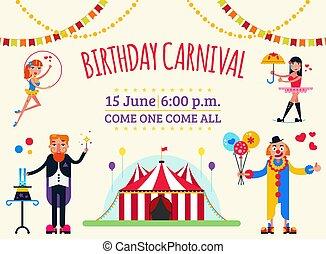 einladung, magier, eintrag, vektor, künstler, weisen, balloons., turner, zelt, clown, festlicher, künstler, flaggen, plakat, oberseite, zirkus, groß, aerialists., illustration.