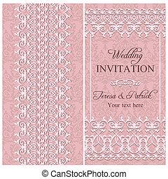 einladung, rosa, barock, wedding