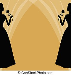 Frau, silhouette, sportliche , text., gelbes zeichen,... Zeichnung ...