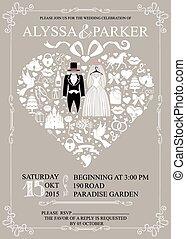 einladung, tragen, wedding, herz, composition.