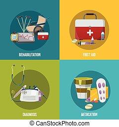 einrichtungen, satz, gesundheit, ikone