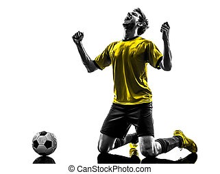 eins, 3, silhouette, mai, freude, fußball, 3th, paris, junger, -, spieler, glück, frankreich, brasilianisch, fußball, knieend, 2013, mann