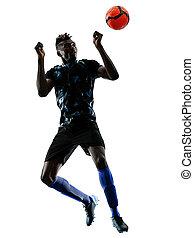eins, afrikanisch, fußballspieler, mann, freigestellt, weißer hintergrund, silhouet