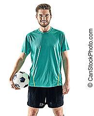 eins, fußballspieler, mann stehen, freigestellt, weißer hintergrund