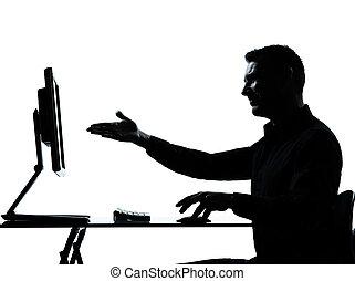 eins, geschäftsmann silhouette, edv, rechnen, ausstellung, gebärde
